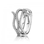 LARGE ROSE SILVER RING WITH CUBIC ZIRCONIA